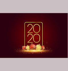 2020 new year banner with 3d christmas balls vector