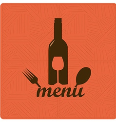 a bottle wine with some utensils and text in a vector image