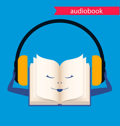 Audiobook icon book with headphones vector