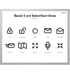 Basic ui icons line pack vector