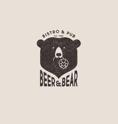 bear and beer logo hop cones pub beer shabby vector image