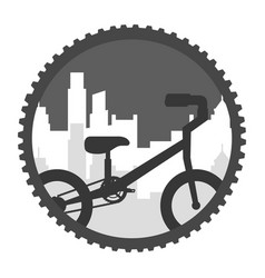 bicycle landscape urban city sticker vector image