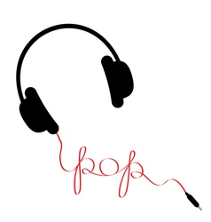 Black headphones with red cord word pop vector