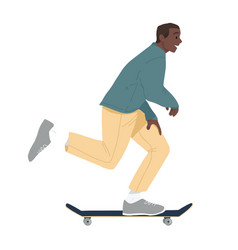 Black man ride on skateboard african boy riding vector