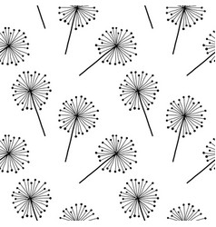 black on white dandelion seamless pattern vector image