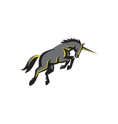 Black unicorn horse charging isolated retro vector