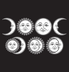 Boho chic flash tattoo set sun and moon vector