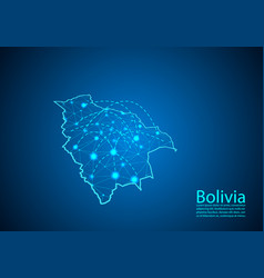 bolivia map with nodes linked by lines concept of vector image