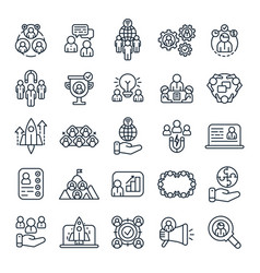 business people outline icons office team vector image