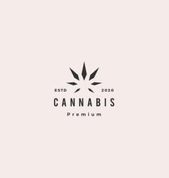 cannabis leaf hemp logo hipster retro vintage icon vector image