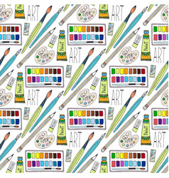 cartoon doodles hand drawn art supplies seamless vector image