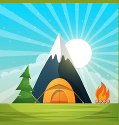 cartoon paper landscape tree mountain fire vector image vector image