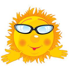 Cartoon sun bespectacled vector
