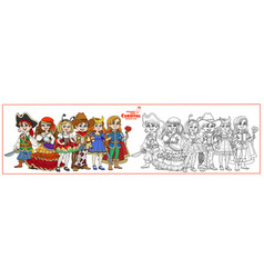 children in carnival costumes pirate fortune vector image