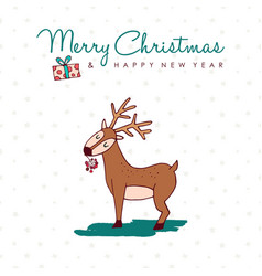 christmas and new year cute hand drawn deer card vector image