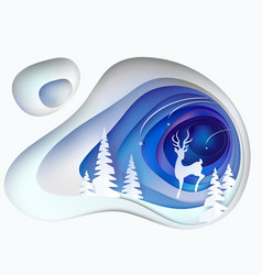 christmas card snowy hill with fur trees and deer vector image