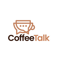 Coffee talk chat bubble outline logo icon vector