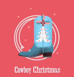 Cowboy christmas card background with western vector