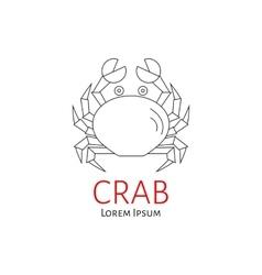 Crab flat line vector image