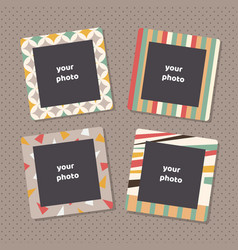 creative photo frames with art texture decorative vector image vector image