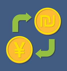 Currency exchange YenYuan and Shekel vector image