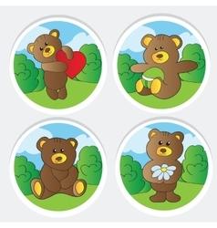 cute teddy bears collection vector image