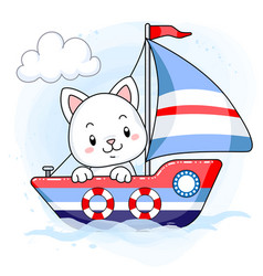 cute white kitten sailing on a cartoon boat vector image