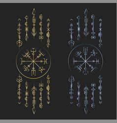 Dark runic symbols dreamer deco vector