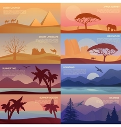 Desert landscape and egypt pyramids wildlife vector