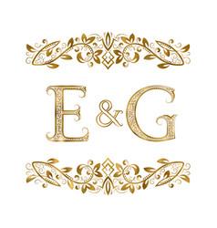E and g vintage initials logo symbol vector