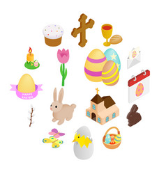 easter isometric 3d icons vector image