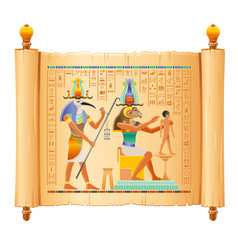 Egyptian papyrus with god khnum thoth creating vector