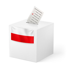 Election in poland ballot box with voicing paper vector