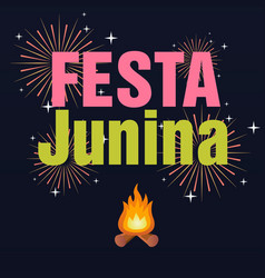 Festa junina bonfire fireworks black background ve vector