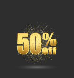 fifty percent discountgold glitter particles on vector image