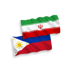 Flags iran and philippines on a white vector
