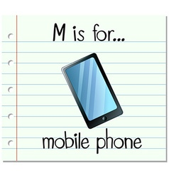 Flashcard letter M is for mobile phone vector image