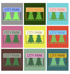 Flat icons set city park vector