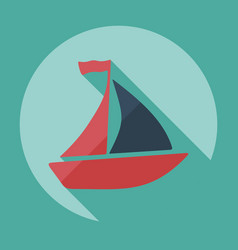 Flat modern design with shadow icon sailing ship vector