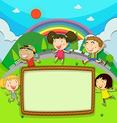 Frame design with children in the park vector