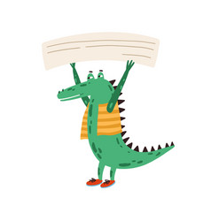 funny green protesting crocodile in clothes vector image