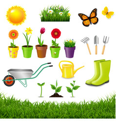 Gardening tools isolated white background vector