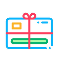 gift certificate with bow icon outline vector image