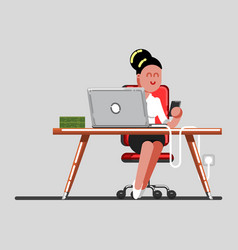 girl have a break on work vector image