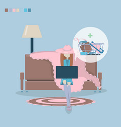 girl shopping through internet vector image