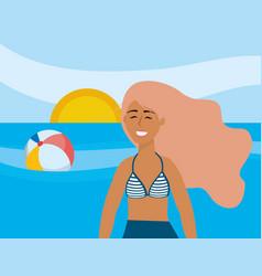 Girl with swim wear design vector