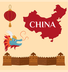 Great wall of china beijing asia landmark brick vector
