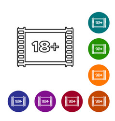 Grey line play video with inscription 18 plus icon vector