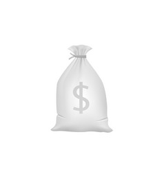 grey money bag with dollar sign vector image vector image