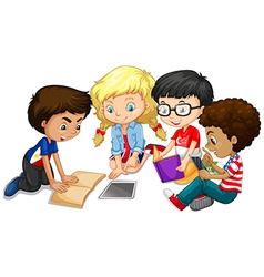 Group of children doing homework vector image